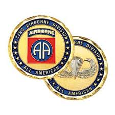 82d Airborne with novice wings on back Challenge Coin